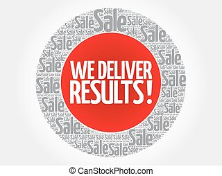 We deliver results words cloud, business concept background