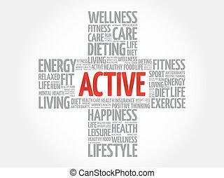ACTIVE word cloud, health cross concept