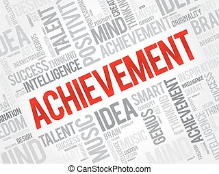 Achievement word cloud, business concept