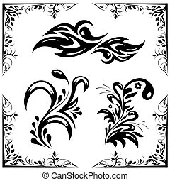 vector set of patterns and ornament - a set of black vector...