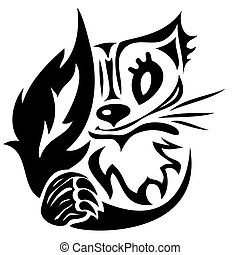 vector stylized cat tattoo - vector black stylized cartoon...