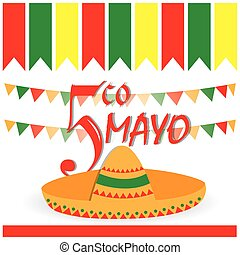 Cinco de mayo - White background with text, some ornaments...