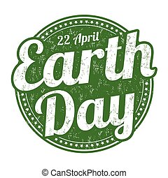 Earth Day stamp - Earth Day grunge rubber stamp on white...