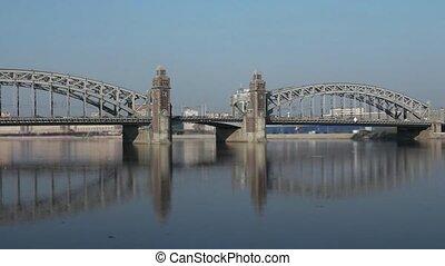Old Bridge reflected in water - Bridge Peter Great in St...