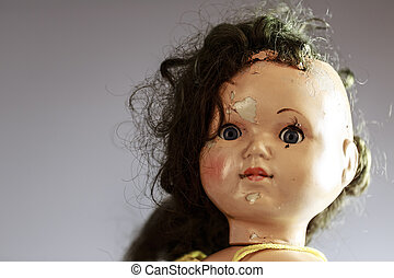 head of beatiful scary doll like from horror movie - evil...