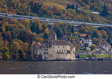 Chillon Castle and lake Geneva near resort of Montreux,...