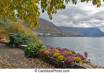 embankment of Montreux and Alps, canton of Vaud, Switzerland