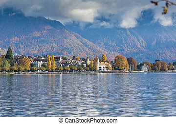 Panoramic view to Veve, Switzerland - Panoramic view to...