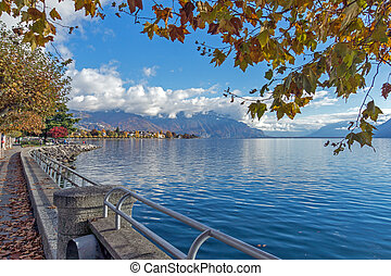 Embankment of Vevey, Switzerland - Autumn Landscape of...