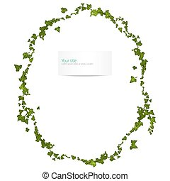 Vector spring frame with ivy leaves and branch