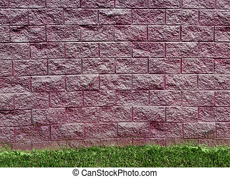 Purple Cinder Block Wall and Grass - Horizontal purple...