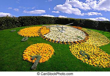 Flower Clock on Geneva Switzerlands Flower clock in a public...