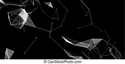 Virtual abstract background with particle, molecule...