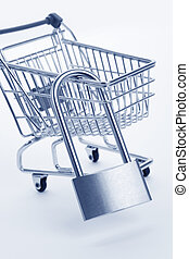 Tighten budget - Shopping Cart and lock, Business concept,...