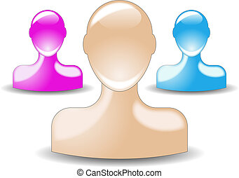 colored glossy user icon - 3 different colored glossy user...