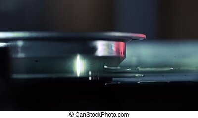 Laser-head red ray of DVD drive, macro shot - Laser-head of...