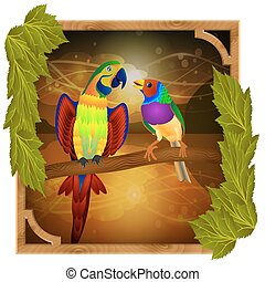 parrot and finch sitting on a branch at sunset