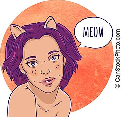 Portrait of a girl with cat ears. The speech bubble. Meow....
