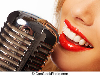 woman lips with retro microphone