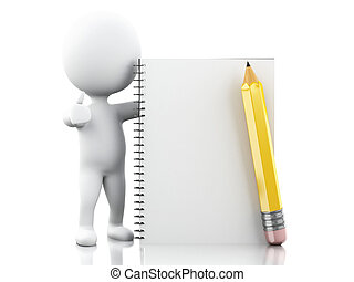 3D White people with notepad and pencil