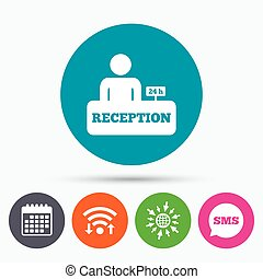 Reception sign icon Hotel registration table - Wifi, Sms and...