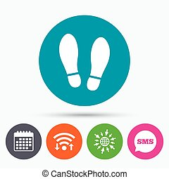 Imprint shoes sign icon Shoe print symbol - Wifi, Sms and...