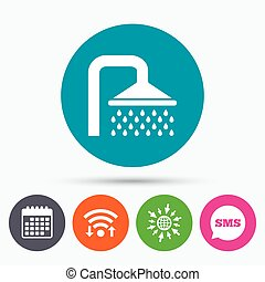 Shower sign icon Douche with water drops symbol - Wifi, Sms...