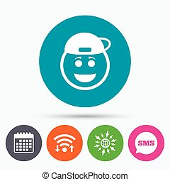 Smile rapper face icon Smiley symbol - Wifi, Sms and...