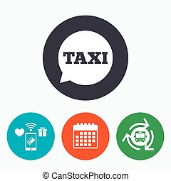Taxi speech bubble sign icon Public transport - Taxi speech...