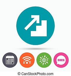 Upstairs icon. Up arrow sign. - Wifi, Sms and calendar...