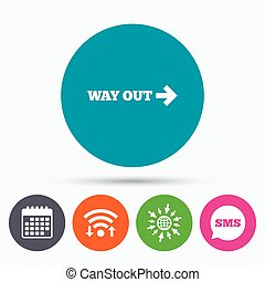 Way out right sign icon Arrow symbol - Wifi, Sms and...