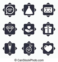 Wedding, engagement icons Love oath letter - Icons with...