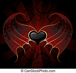 Gothic Vampire Heart - gothic black heart of a vampire with...