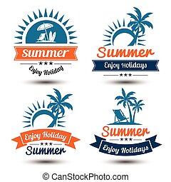 Summer label 2 - Summer holidays design elements set Retro...