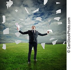 Businessman rejoices - Businessman in a meadow rejoices...