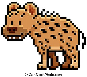 Hyena - Vector illustration of Cartoon Hyena - Pixel design