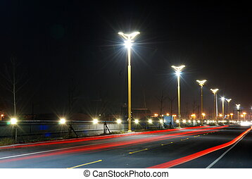 Night scenes - Car Light and Night scenes in a peace village