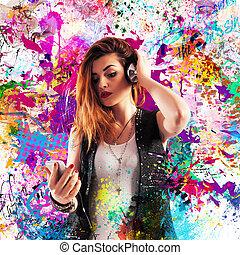 färgglatt, musik, verkan