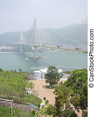 Ting Kau suspension bridge, Lantau link viewing platform,...