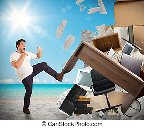 Stressful job need holidays - Man moves office furniture...