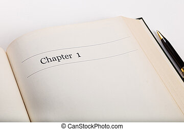 chapter one,  in an open book with a pen