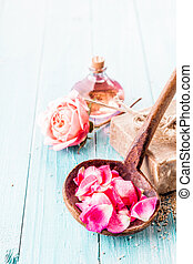 Pink Petals in Ladle with Soap, Rose and Oil