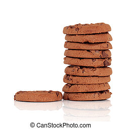 Chocolate Chip Cookies - Chocolate chip cookie stack with...