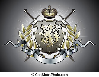 heraldic shield - illustration of heraldic shield or badge...