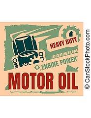 Vintage Label Design Template. Motor oil. Garage service and...
