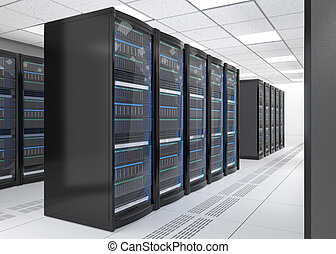 Rows of blade server system on white background 3D rendering...