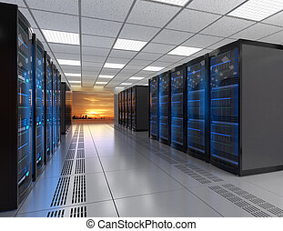 Rows of blade server system in data center. 3D rendering...