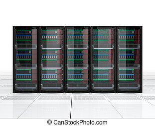 Row of blade server system on white background. 3D rendering...