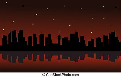 Silhouette of building and star with red background