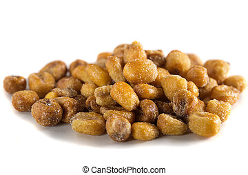 Pile of toasted salted corn isolated on a white background